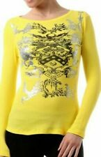 Women's 100% Cotton Long Sleeve Casual T-Shirt Thermal Skull Graffiti Top MEDIUM