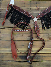 WESTERN HEADSTALL BREAST COLLAR BLACK SUEDE FRINGE LEATHER HORSE BRIDLE TACK SET