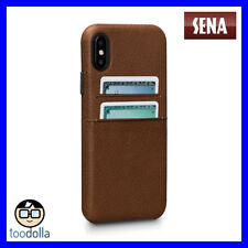 SENA Bence Snap-on genuine Leather Wallet case, card pockets for iPhone X, Brown