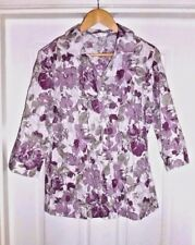 E W M {Non Iron} size 14 PURPLE LILAC GREEN FLOWERS FLORAL  BLOUSE SHIRT