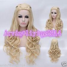 New Movie Princess Cinderella Long Blonde Synthetic Wavy Cosplay Wigs