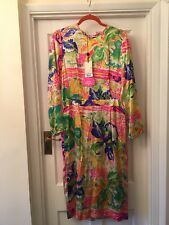 New By Malene Birger Multi Coloured Floral 100% Silk Midi Summer Dress,40/14