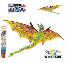 "Dragon Kids Kite 3-D RipStop Nylon + 76"" wide + Tails + Line + Handle + Clip"