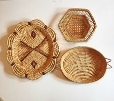 Vintage Woven Baskets Wicker Rattan Boho Wall Hanging Storage Sea Grass Lot Poly