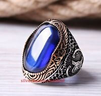 Turkish Jewelry 925 Sterling Silver Blue Sapphire Mens HEAVY Ring us ALL SİZE