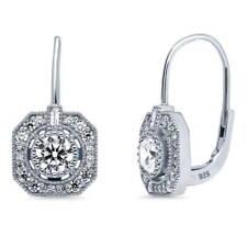 BERRICLE Sterling Silver CZ Art Deco Leverback Wedding Dangle Drop Earrings