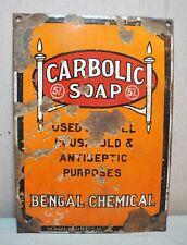 Original Old Vintage Enamel Porcelain Advertisement Sign Carbolic Soap