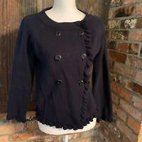 J Crew 6 Button Ruffles Blazer Sweater In Black  Cotton Size M 3/4 Sleeve