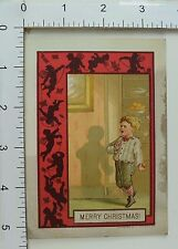 Victorian Christmas Trade Card Red Border Cherubs Cute Boy Sneaking Sweets #A