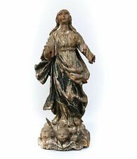 16th -17th Century Hand Carved Painted Saint or Madonna Figure With Angels