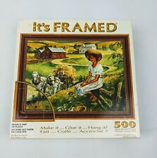 It's Framed Puzzle 500 piece Sure-Lox Frame Glue Country Girl Farm New Sealed