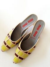 e66841339ff MIU MIU Vero Cuoio Women s Sandals Lime Brown   Beige with 1 Inch Heels ...