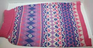 "Blueberry Pet Pink & Purple Diamond Pattern Pullover Dog Sweater 12"""