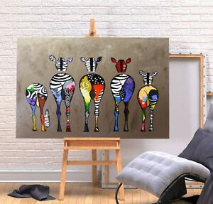 ZEBRA BUM PRINT- DEEP FRAME CANVAS GRAFFITI WALL ART PICTURE - MULTI COLOURED