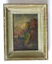 MAISON & MONTAGNE, tableau ancien, dans son cadre, joli tableau, A VOIR .......