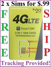 H2O H20 WIRELESS Nano SIM CARD WORKS w/ AT&T & UNLOCKED PHONES