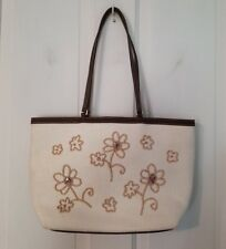 Liz Claiborne off-white w/ beaded flowers detail shoulder bag, purse, 4 pockets