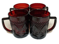 4 VNTG Cristal D'Arques Ruby Red Glass made in France Coffee Mugs VTG EUC