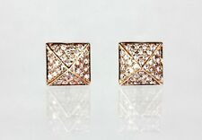 14k Yellow,Rose or White Gold Pyramid Stud Earring with Diamond (D 0.17ct)/CH