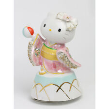 SAKURA Maiko Hello Kitty figure Music box Ceramic Kimono Doll pink Porcelain FS