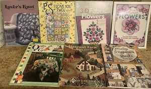 LOT 7 QUILT PATTERN BOOKS I LOVE YOU TWO PIECE OR APPLIQUED FLOWERS SCRAPBOOK SC