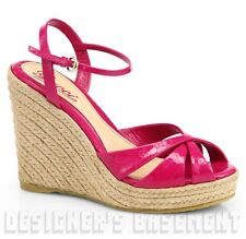 GUCCI magenta 39 Patent Guccissima PENELOPE platfrm Espadrille WEDGE shoes NIB