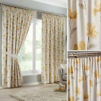 Ochre Tape Top Curtains Floral Print Ready Made Lined Pencil Pleat Curtain Pairs