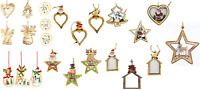 Real Wooden Christmas Tree Hanging String Decorations Ornaments Hand Crafted