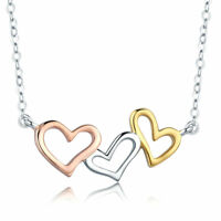 Rose Gold Plated Solid S925 Silver Charms Hearts Pendant Necklace Chain Jewelry