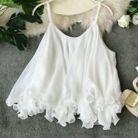 Lady Chiffon Ruffle Camisole Tank Vest Tops Strap Layer Frilled Swing Fairy Sexy