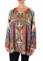 Johnny Was Afterglow Button Down Printed Top Blouse New Boho Chic C16718