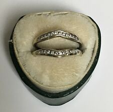 ❤14K WHITE GOLD DIAMOND SEMI ETERNITY WEDDING GUARD ENHANCER CONTOUR BAND RING ❤