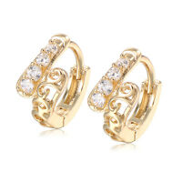 Childrens Baby Girls Safety Crystal Tiny small Cute Hoop Earrings lot 14K GP