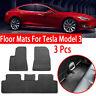 For Tesla Model 3 Floor Rubber Tailored Car Mat Anti-Slip 3PCS Set  2017 - 2019