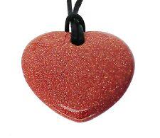 Lucky Leo Birthstone Heart Pendant Zodiac Astrology Gemstone Goldstone