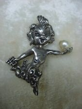 Vintage Elf Pixie Sterling signed Cyvra Pan w. Pipes and Pearl Pin Brooch