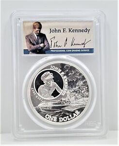 2017 Solomon Islands John Kennedy First Strike Silver Dollar S$1 PCGS MS 69 C64