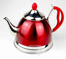 Red retro TEA POT T gas electric hob to keep warm camping serving teapot caravan