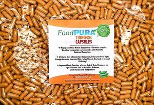 Turmeric Capsules 600mg Tumeric Curcumin 10, 60, 90,180, 365  Vegan FoodPURA