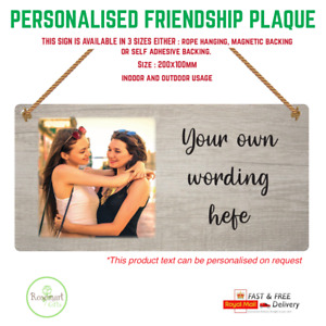 Personalised Photo Plaque | Any Text Hanging Metal Sign Gift Special Friendship