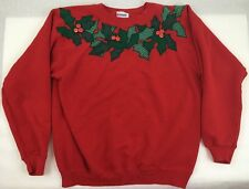 Vintage Ugly Christmas Sweater Handmade Red Poinsettia Large STAIN