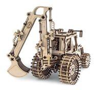 Mechanical wooden 3D puzzle Excavator Digger Construction Set Gift Idea