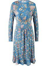 Langarm-Jerseykleid Gr. 52/54 Kristallblau Damen Midi-Kleid Freizeitkleid Neu