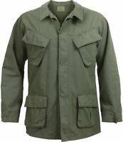 Olive Drab Vintage Vietnam Military 100% Cotton Rip-Stop Fatigue Shirt