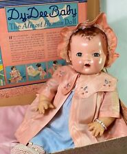 """Rare Vintage 1930s Effanbee Dy-Dee Lou 20"""" Baby Doll in Trunk"""