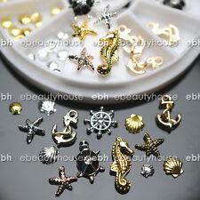 3D Nail Art Decoration Ocean Alloy Jewelry Glitter Rhinestones + Wheel #EB-077