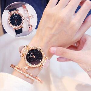 Fashion Quartz Watch & Bracelet Wrist Watch Womens Crystal Bracelet Bangle Hot