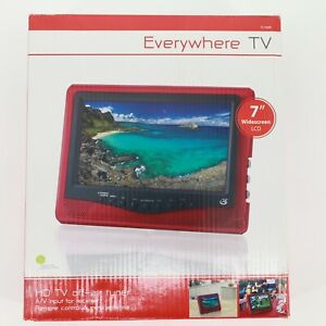 """New GPX 7"""" Widescreen LCD Everywhere TV TL709R Red"""