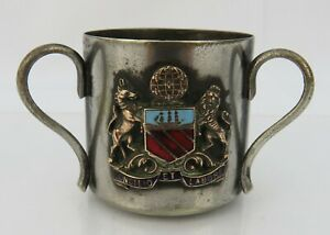 Vintage small silver plated 3 handle tyg cup with enamel Manchester coat of arms