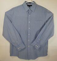 Tommy Hilfiger Mens Slim Fit Dress Shirt Size Large Blue/Green/White Striped